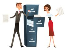 Retro Mid Century Modern Happy Business Man Woman Filing. A vector illustration of a business man and woman with a filing cabinet. This illustration is done in royalty free illustration