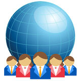Business men and women with globe Stock Photo