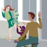 Vector illustration business mother says goodbye to her daughter and her husband riding a bike royalty free illustration