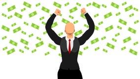Vector illustration business people celebrate when it rains money to achieve success vector illustration