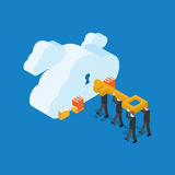 Vector illustration. Business people with key and clouds. Vector illustration. Business people with key and clouds with keyholes. Isometric flat design Royalty Free Stock Photo