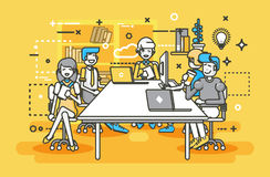 Vector illustration business people men women employees colleagues negotiating conference planning table teamwork. Stock vector illustration business people men vector illustration