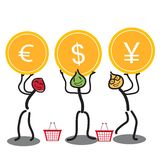 Vector illustration business people raise three coins with dollar, euro, and yen signs. Illustration business people raise three coins with dollar, euro, and Royalty Free Stock Photos