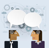 Vector illustration business people with speech bubble.social ne Stock Photo