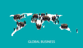 Vector illustration of business people standing on the world global map shape. infographic global business cooperation concept. Stock Photos