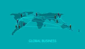 Vector illustration of business people standing on the world global map shape. infographic global business cooperation concept. Royalty Free Stock Photo