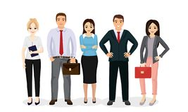 Vector illustration business people team. Happy and smile businessmen and businesswomen stand together in flat cartoon vector illustration
