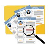 CV and resume. Vector illustration business portfolio. Employment issue, resume, job search, contract conclusion concept. Find new job. CV curriculum vitae with Royalty Free Stock Photo