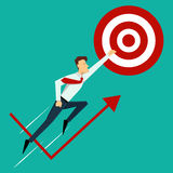 Vector illustration. Business success concept. Finish line. Business success concept. Finish line. Super leader and super businessman. Vector illustration Stock Images