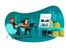 Vector illustration of business, target, web, UI, element. people in meeting discus sale, and company finance. entrepreneurs looki stock illustration