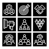 Vector illustration business team building people concept. Vector business team building people teambuilding outline icons concepts illustration trainings Royalty Free Stock Photography