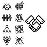 Vector illustration business team building people concept teambuilding work management outline trainings icons. Vector business team building people Royalty Free Stock Photo