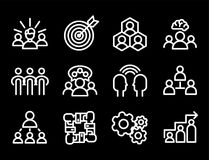 Vector illustration business team building people concept teambuilding work management outline trainings icons. Royalty Free Stock Photography