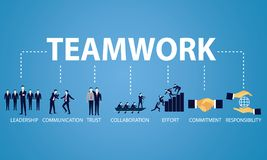 Business Teamwork Team Hard Work Concept. Vector Illustration Royalty Free Stock Photography
