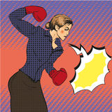 Vector illustration of business woman boxing in pop art style. Royalty Free Stock Photos
