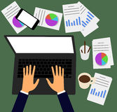Vector illustration. Business workplace with people using laptop Royalty Free Stock Images