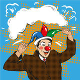 Vector illustration of businessman clown in jester hat, pop art Royalty Free Stock Images