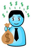 Dollar rush. Vector illustration of a businessman in dollar rush stock illustration