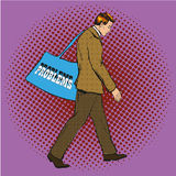 Vector illustration of businessman having problems in pop art style. Vector illustration of man, businessman carrying bag with Problems lettering in retro pop Stock Photography