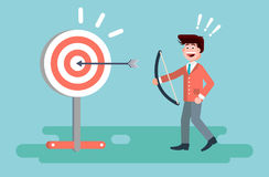 Vector illustration businessman hits target successful shot from bow advancement right solution excellent business Stock Photos