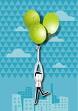 Vector illustration of businessman holding green grape balloons Stock Photos