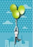 Vector illustration of businessman holding green grape balloons Stock Photos