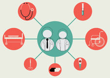 Vector illustration of Businessman, icon, doctor,Medical Royalty Free Stock Photo