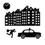Vector illustration of a businessman or an office worker ina suit trying to catch a taxi in a hurry. Black and white silhouettes. Royalty Free Stock Photography