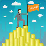 Vector illustration of businessman proudly standing on the huge money staircase. Money mountain peak. Path to success concept Royalty Free Stock Photography