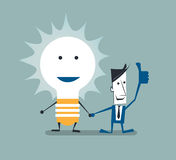 Vector illustration of businessman shaking hands with light bulb. Creativity idea for success concept Stock Image