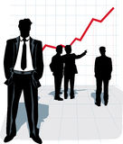 Vector illustration of businessman silhouette. Silhouettes of businessman, standing in front and group of people talking and looking at the graphic Stock Image
