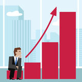 Vector illustration of businessman sitting on an arrow chart. Stock Images