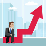 Vector illustration of businessman sitting on an arrow chart. Business concept. Businessman with arrow. Royalty Free Stock Photography