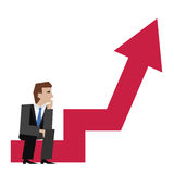 Vector illustration of businessman sitting on an arrow chart. Business concept. Businessman with arrow. Royalty Free Stock Photo