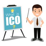 Ico business presentation concept vector flat illustration. Vector illustration of businessman speaker giving presentation of what is ico using visual aids Royalty Free Stock Images