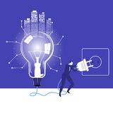 Vector illustration of businessman trying to switch on idea bulb Stock Photos