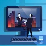 Vector illustration of businessmen handclasp in flat design Stock Photos