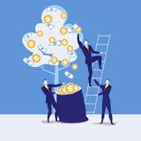 Vector illustration of businessmen harvesting money, flat style design Royalty Free Stock Photos