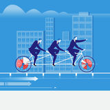 Vector illustration of businessmen riding tandem bike in flat style Stock Photo