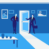 Vector illustration of businessmen standing at open door. Royalty Free Stock Images