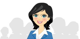 Businesswoman. Vector illustration of businesswoman in blue Stock Image