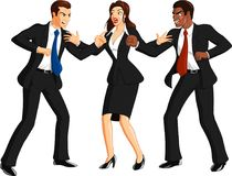 Furious Men Fighting. Vector illustration of a businesswoman breaking up a fight or argument between two businessmen, illustration isolated on white Stock Photo