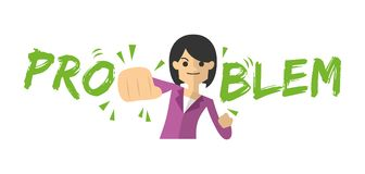 Businesswoman hitting problem word, problem solving Royalty Free Stock Photos
