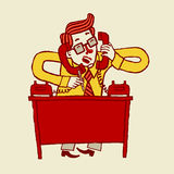Vector illustration of a busy stressed out cartoon businessman talking on phone. Royalty Free Stock Photo