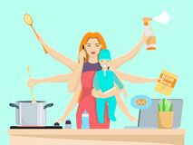 Busy multitasking woman and mom with baby vector flat illustration Stock Photography