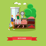Vector illustration of butcher with meat products, seller and buyer. Stock Photography
