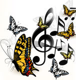 Music background with space for text and butterflies Stock Photo