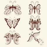 Vector illustration of butterflies in mehndi ornament. Traditional indian style, ornamental floral elements for henna Stock Images