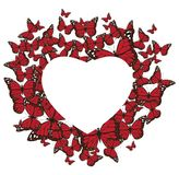 Vector Butterflies Heart Valentine`s Background. Royalty Free Stock Image