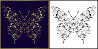 Vector Illustration of butterfly, perfect as tatto Royalty Free Stock Photo